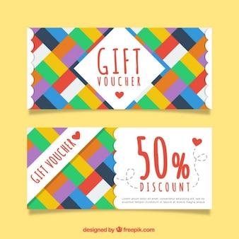 Kleuren rechthoeken gift coupons