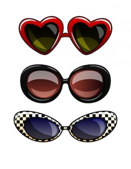 Kleuren vectorillustratie van glazen in plastic frame. set vintage zonnebrillen met donkere lenzen. cat eye-bril, ronde bril, bril in de vorm van een geïsoleerd hart