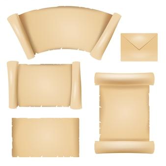Kleurenafbeelding van ontwerpelementen van oude papyrus