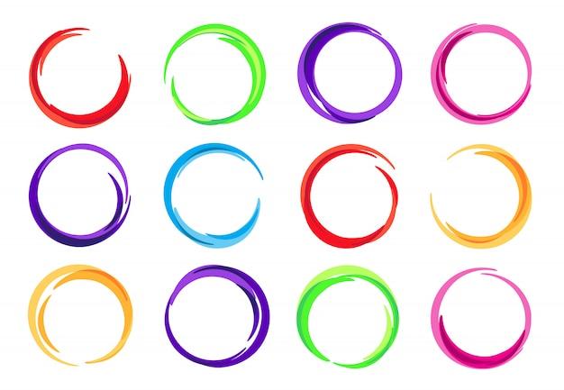 Kleurencirkels, kleurrijke ronde logo frame, cirkel swirl golf en levendige ovale abstracte wervelende energie frames instellen
