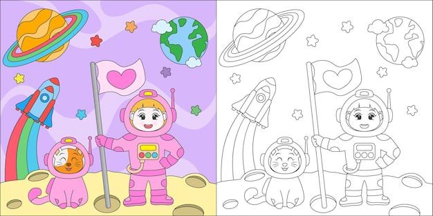 Kleurende astronaut meisje