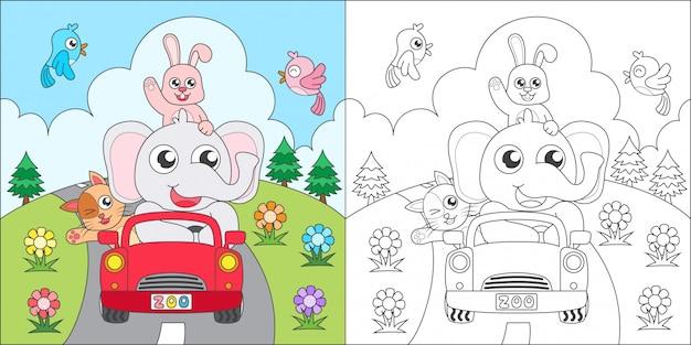 Kleurende dieren die een auto berijden Premium Vector