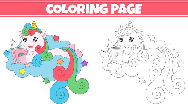 Kleurende eenhoorn die een boek leest