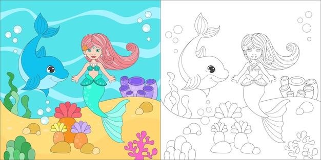 Kleurende zeemeermin en dolfijn