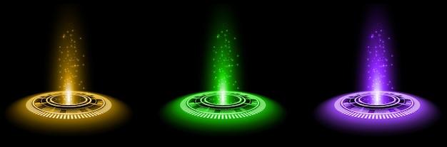 Kleurenhologramportaal magisch fantasieportaal magische cirkel teleporteerpodium met hologrameffect