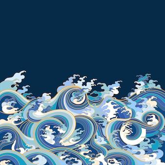 Kleurenillustratie, die zeegolven in traditionele oosterse stijl afschilderen.