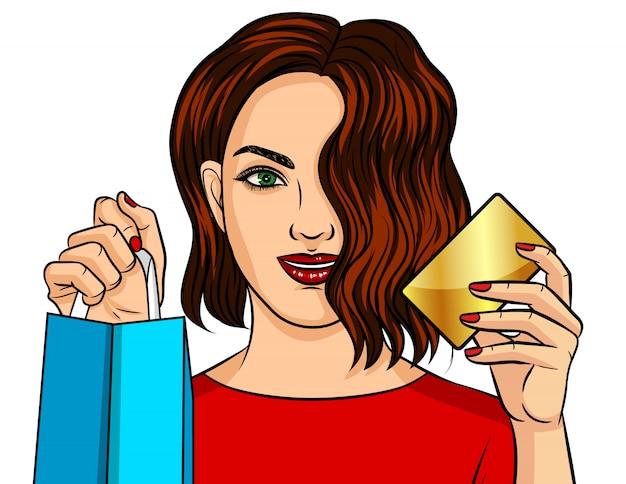 Kleurenillustratie van een meisje die online winkelen.