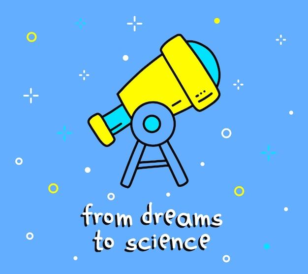 Kleurenillustratie van grote telescoop