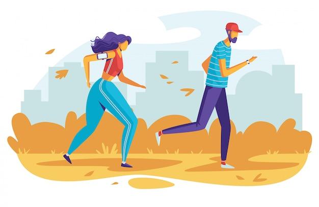 Kleurenillustratiemensen die in het park lopen. vlakke stijl poster sportactiviteiten buitenshuis.