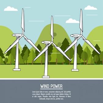 Kleurenlandschaps achtergrondwindenergieinstallatie met turbines