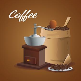 Kleurenposter vermalen met krukas en zak container koffie met bonen
