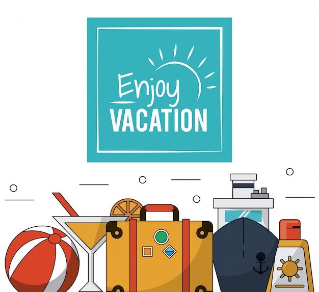 Kleurenposterbagage en cruiseschip en cocktail en sunblock