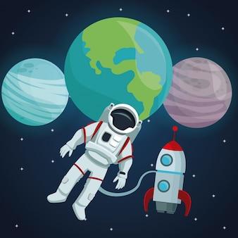 Kleurenruimte landschap achtergrond met astronaut en raket vliegen in de kosmos