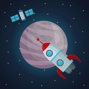 Kleurenruimte landschap achtergrond met satelliet en raket met uitzicht op de planeet