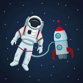 Kleurenruimte landschapsachtergrond met astronaut en raket