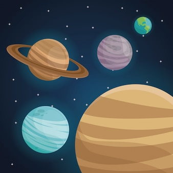 Kleurenruimte landschapsachtergrond met uitzichtplaneten in zonnestelsel