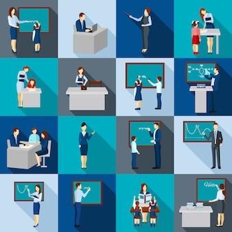 Kleurenschaduwen leraar icons set