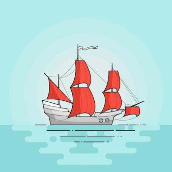 Kleurenschip met rode zeilen in overzees die op witte achtergrond wordt geïsoleerd. reizende banner met zeilboot. platte lijntekeningen. vector illustratie. concept voor reis, toerisme, reisbureau, hotels, vakantiekaart.