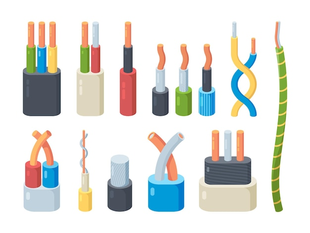 Kleurenset elektrische kabels. koperen en aluminium stroomaansluiting spanningstechnologie voor industriële huishoudelijke apparatuur lineaire geleiders van stroomsterkte professionele gevlochten vezel.
