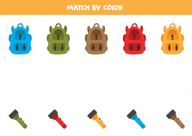Kleurensorteerspel voor kinderen. match rugzak en zaklamp.