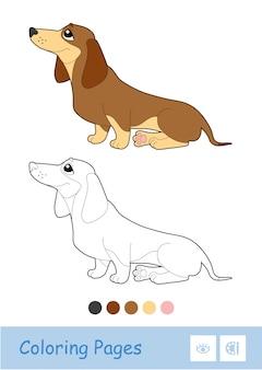 Kleurloos contourbeeld van een zittende hond die op witte achtergrond wordt geïsoleerd. huisdieren-gerelateerde voorschoolse kinderen kleurboekillustraties en ontwikkelingsactiviteit.
