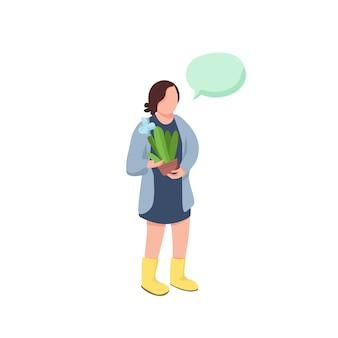Kleurloos karakter van tuinman. vrouw met cactus in pot. meisje houdt potplant kamerplant. persoon met toespraak bubble cartoon afbeelding voor web graphic en animatie