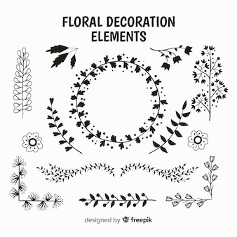 Kleurloos pakket met bloemen decoratief element