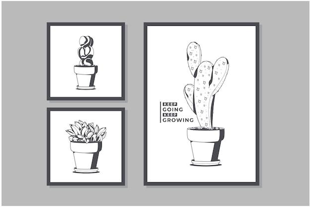 Kleurloze collectie cactusposters
