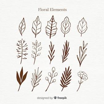 Kleurloze florale decoratie element ingesteld