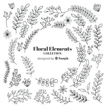 Kleurloze hand getrokken floral decoratieve elementen