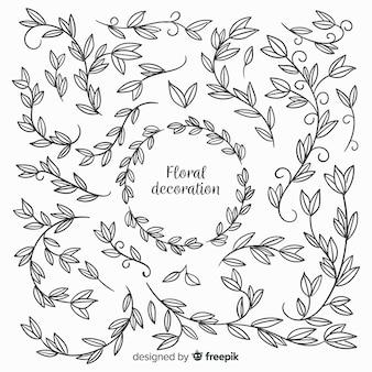 Kleurloze hand getrokken florale decoratie-elementen
