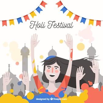 Kleurloze meisje holi festival achtergrond