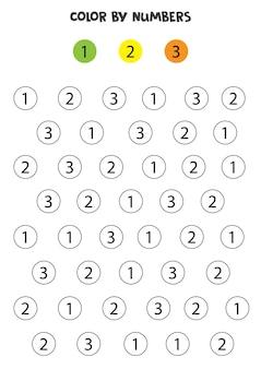 Kleurnummers volgens het voorbeeld. rekenspel voor kinderen.