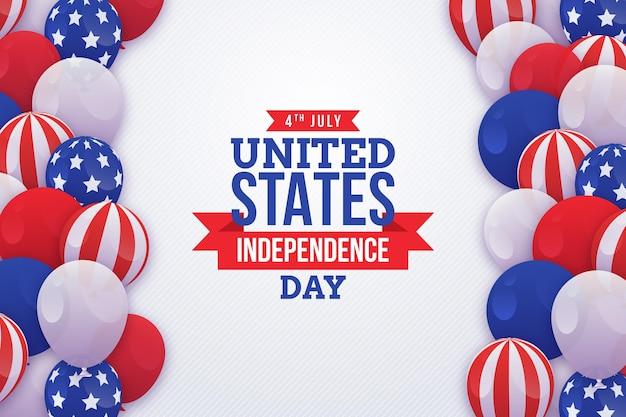 Kleurovergang 4 juli onafhankelijkheidsdag ballonnen achtergrond