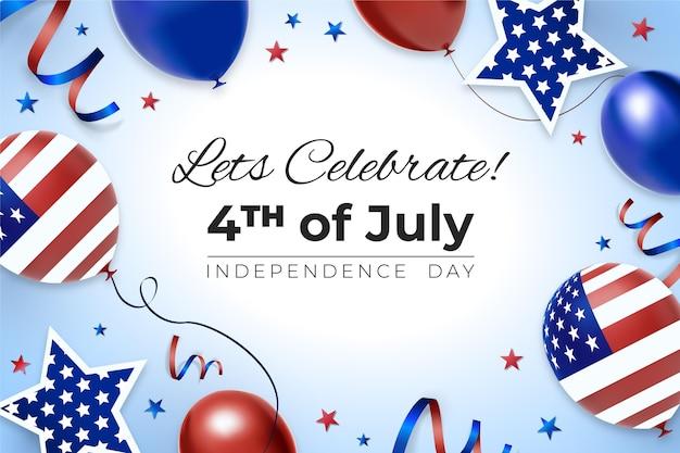 Kleurovergang 4 juli - onafhankelijkheidsdag ballonnen achtergrond