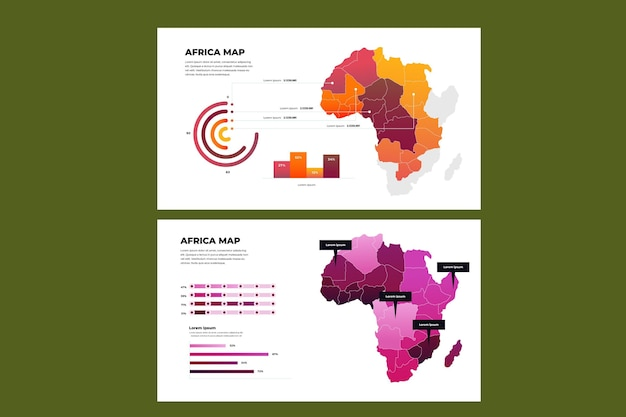 Kleurovergang afrika kaart infographic
