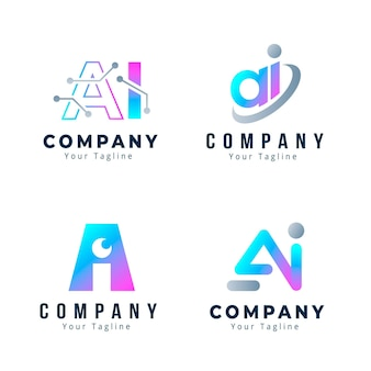 Kleurovergang ai logo sjabloon set