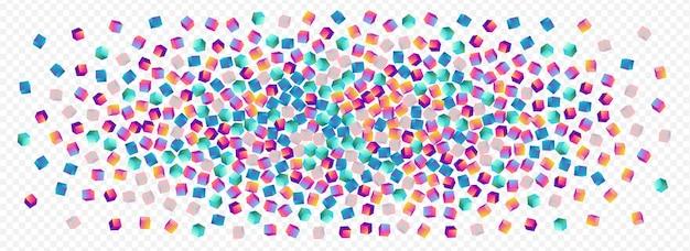 Kleurovergang baksteen vector panoramisch transparante achtergrond. iriserend glanzend blokbehang. structuur kubus papier. holografische confetti grafische afbeelding.
