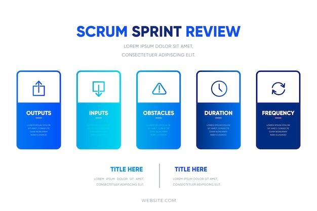 Kleurovergang blauwe scrum infographic sjabloon