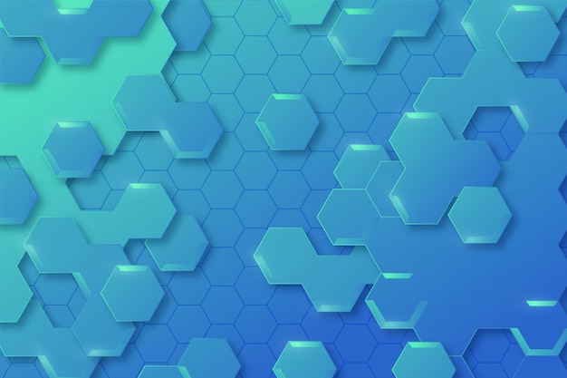 Kleurovergang blauwe zeshoekige achtergrond