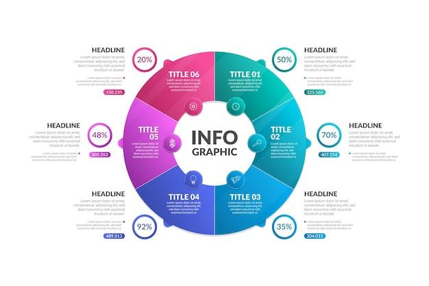 Kleurovergang circulaire diagram infographic