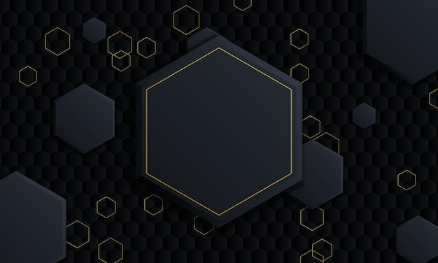 Kleurovergang donkere en gouden zeshoekige achtergrond. vectorillustratie.