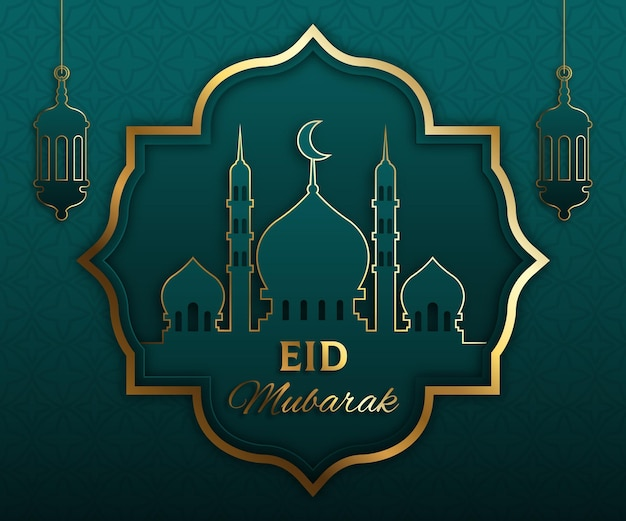 Kleurovergang eid al-fitr - eid mubarak illustratie