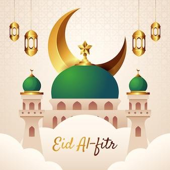 Kleurovergang eid al-fitr hari raya aidilfitri illustratie