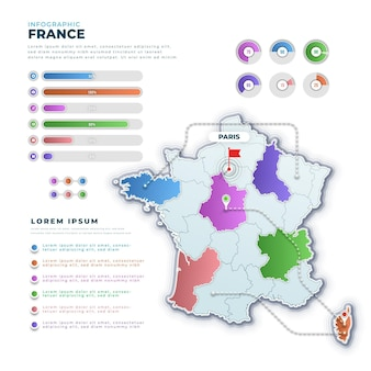 Kleurovergang frankrijk kaart infographic