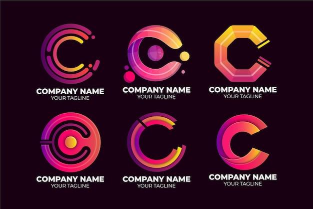 Kleurovergang gekleurd c-logo sjabloonpakket