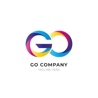 Kleurovergang gekleurd go-logo sjabloon