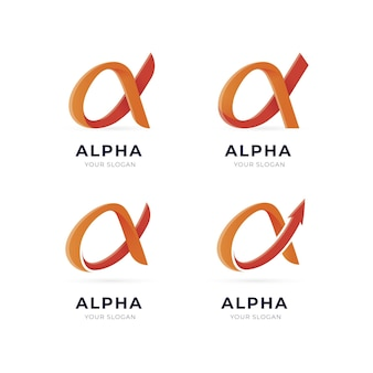 Kleurovergang gekleurde alpha-logo's