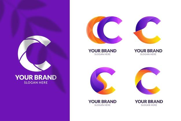 Kleurovergang gekleurde c-logo sjabloonverzameling