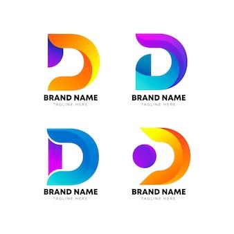 Kleurovergang gekleurde d logo-collectie